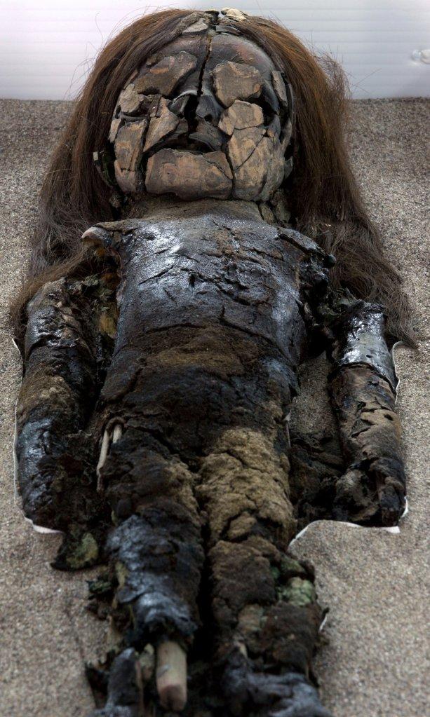 A mummified Chinchorro baby lies inside Azapa's San Miguel Museum in Arica city