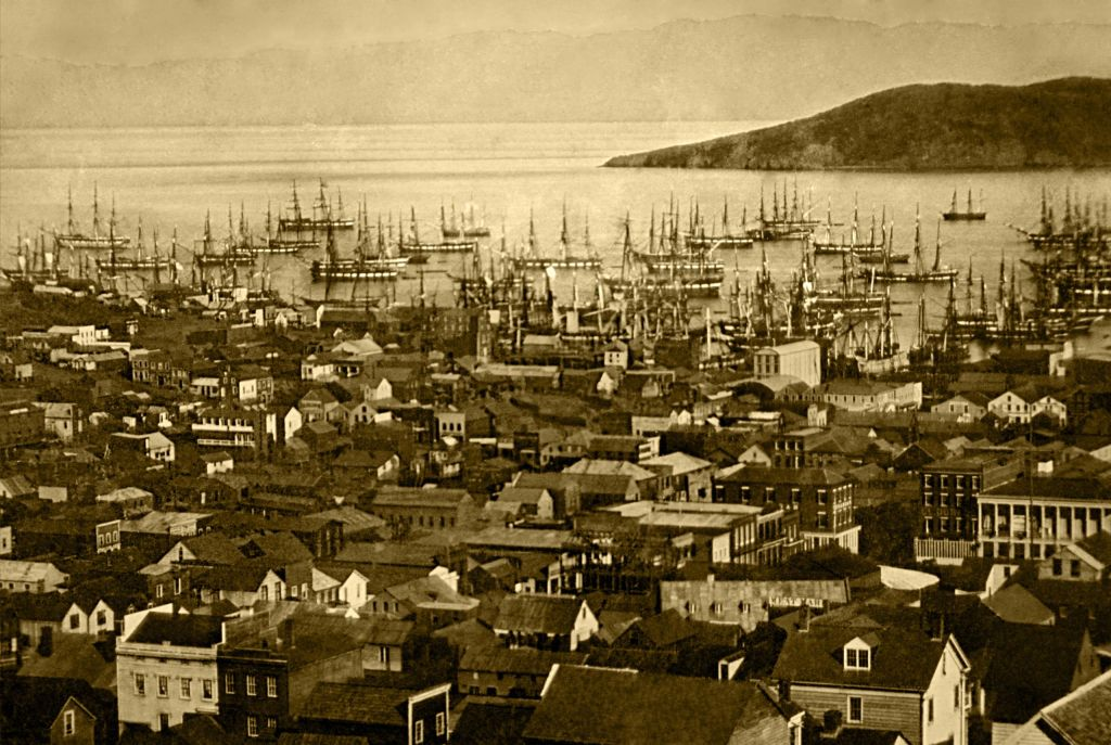 Merchant ships fill San Francisco harbor, 1850–51