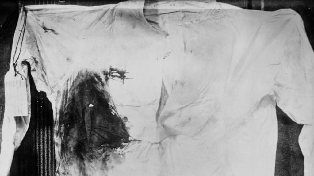 Bloodstained shirt worn by President Theodore Roosevelt, photographed following an assassination attempt in Milwaukee
