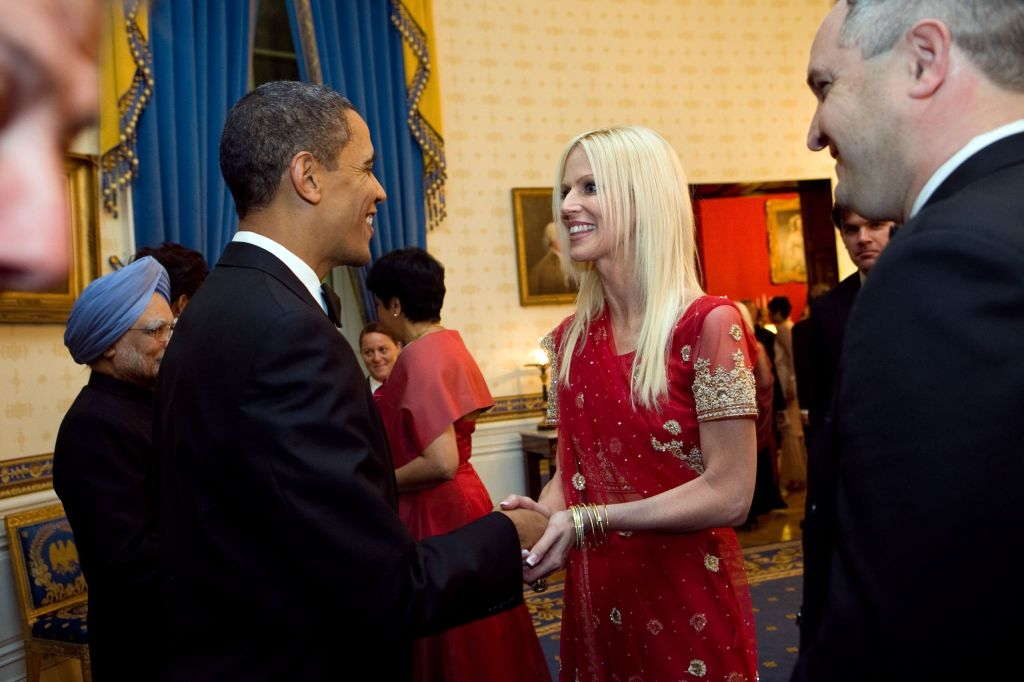 Michaele Salahi greeting President Barack Obama in the Blue Room of the White House
